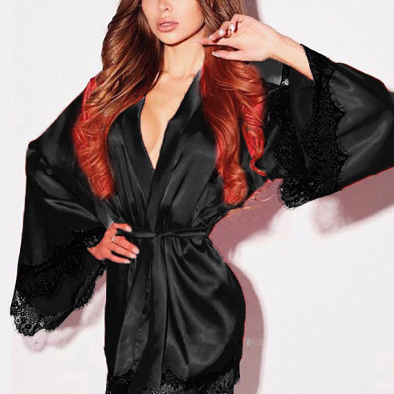 Dress Robe Long-Sleeve Lace Satin Silk Sexy Femme Ladies New Spring Costume