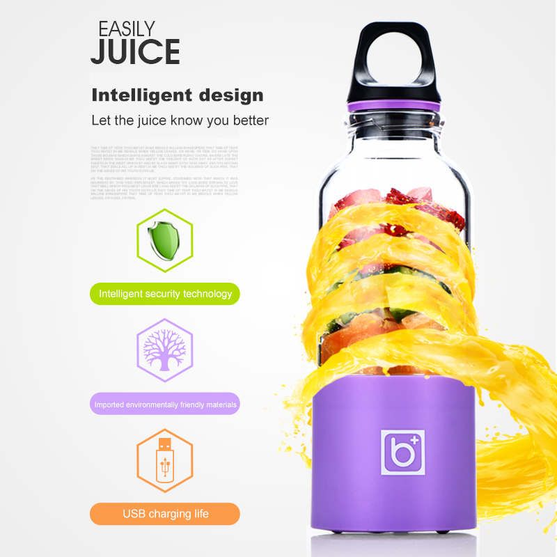 500ml portable usb rechargeable personal juicer blender and portable electric juicer cup