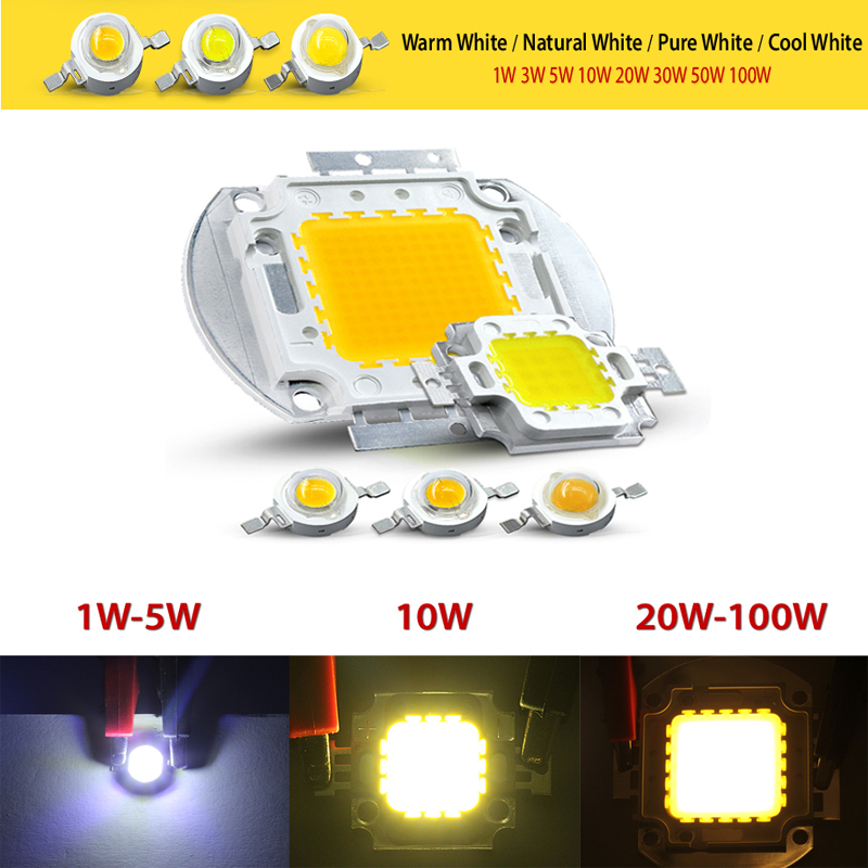 High Power LED Chip Warm Pure Cold White Lighting Beads 1W 3W <font><b>5W</b></font> 10W 20W 30W 50W 100W Integrated Matrix <font><b>Bulb</b></font> COB Lamp image