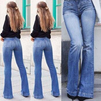 Para estrenar 1e507 42e2b Las mujeres Retro de cintura alta elástica Bootcut Jeans talla 38 Jeans  Skinny de Denim vaqueros pantalones damas Bell Fondo Casual Pantalones