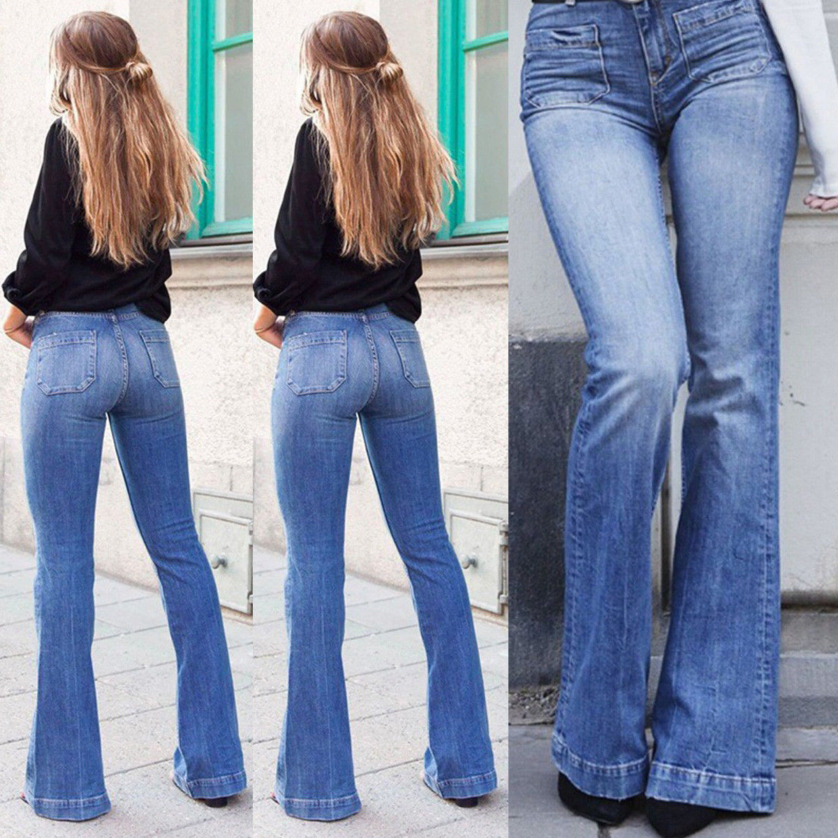 Women Retro High Waist Stretchy Bootcut Jeans Denim Skinny Flared Pants Ladies Bell Bottom Casual Trouser