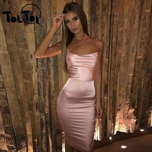 44b52763de7 Stretch Satin Mini Dresses Women Sexy Straps Slim Fit Bodycon Party Dress  Club Solid Green Pink
