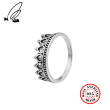 100% 925 Sterling Silver Rings Crown Thai Silver Jewelry Retro For Female Party Rings For Women Fine Jewelry Accessories Gifts jiashuntai vintage 925 sterling silver rings for women natural semi precious gems stone retro thai silver jewelry
