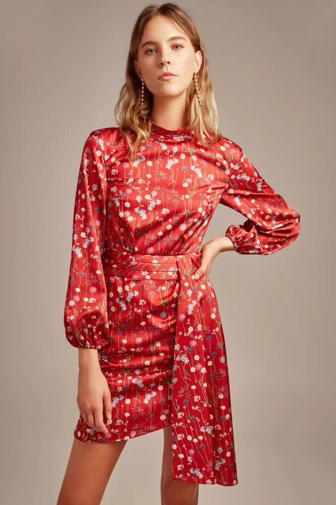 Hold Back Long Balloon sleeves mini Dress Scarlet red printing Floral dress with belt