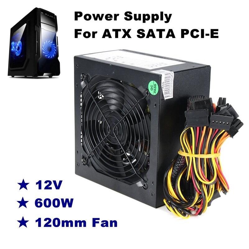 600 w PC PSU Alimentazione Nero Gaming Silenzioso 120mm Fan 20/24pin 12 v ATX Nuovo computer di Alimentazione Per BTC