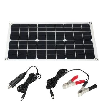 18V 20W Flexible Efficient Solar Panel Cell Module Caravan Camper Monocrystalline Painel Solar Panel Dual Output for Car Boat