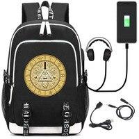 Anime Gravity Falls Bill Cipher Journal 3 USB Backpack Teenagers Kids School Bags Bookbag Unisex Travel Laptop Shoulder Bags