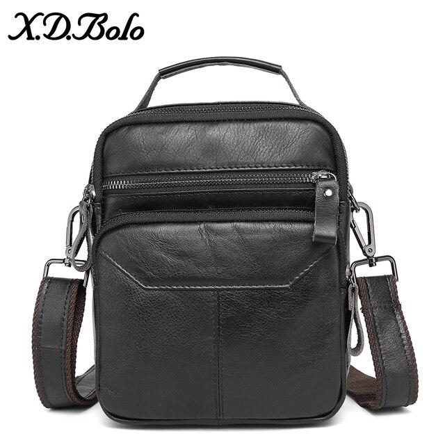 X D bolsos de hombro de BOLO para hombres bolso de mensajero de cuero genuino asa de solapa Retro-bolsos de mano de hombre con cremallera Interior bolsillo