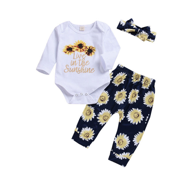bf9277b8488 0-2T Toddler Newborn Infant Baby Girl Sunflower Outfits Cotton Flower Romper  Tops+Pants Outfits Baby Girl Clothes Set DNOV