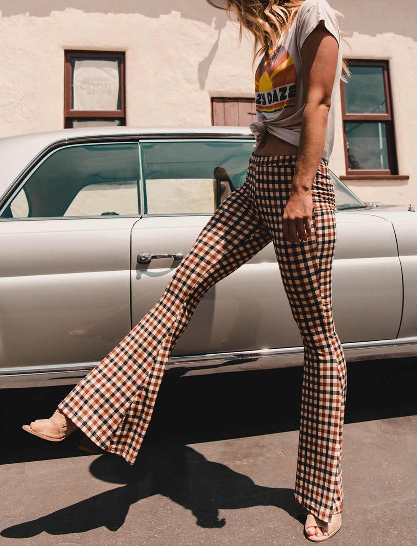 Verão feminino queimado calças moda bell-bottomed calças de cintura alta tartan xadrez vintage na moda magro bootcut estiramento