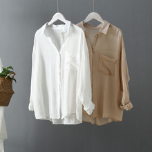 Korean Fashion White Blouse Women Shirts Spring Autumn Casual Ladies Tops Pocket Low High Design Plus Size Long Sleeve