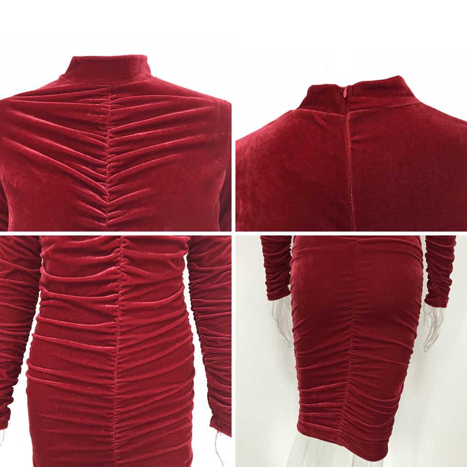 d51f79c98a99 ... Karlofea Women Office Lady Autumn Winter Outfits Dress Pleated Bodycon  Wrap Midi Dress Elegant Long Sleeve