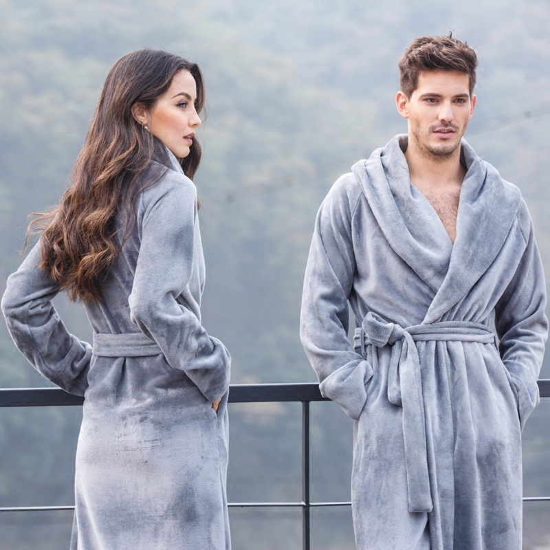 6514438212 Women and man Couples Robe Winter Long Bathrobe Male Excellent Polyester  Fiber Pajamas Nightgown Sleepwear Mens