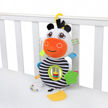Cartoon Cow Plush Rattles Hand Bell Bed Stroller Holder Pendant With Teethers Abacus Baby Kids Early Educational Fun Toys cute cow pattern baby hand bell blue green
