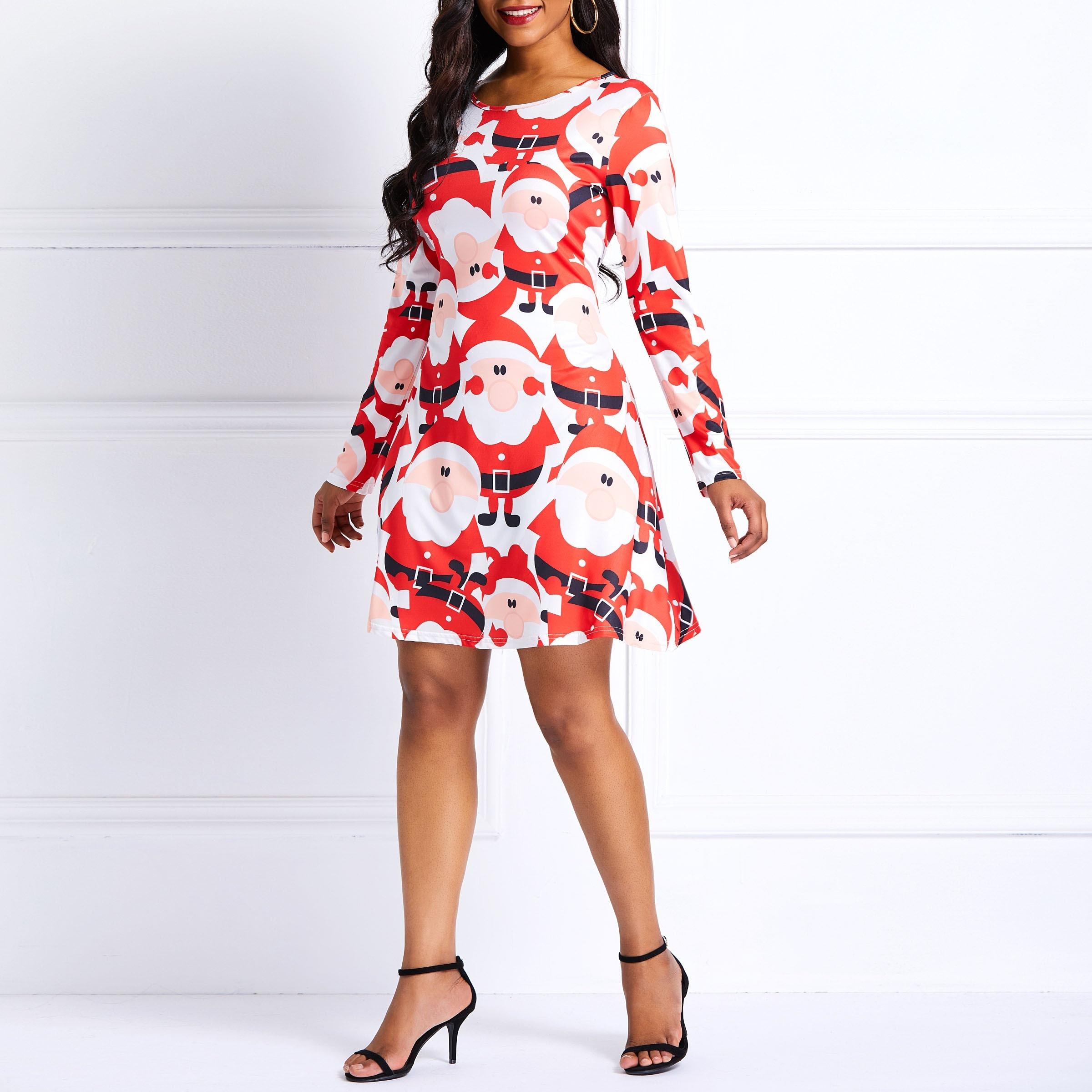 Women Mini Dresses Sweet Christmas Plus Size Aline Cartoon Print Female  Cute Elegant Fashion OL Preppy Style Cute Short Dress-in Dresses from  Women s ... 402f1ea1584e