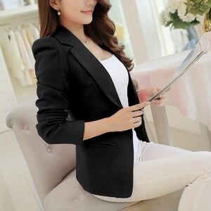 أسود الحلل السترات النساء جديد الربيع الخريف الأزياء واحد زر السترة Femenino مكتب لاد بلون ضئيلة سترة الإناث