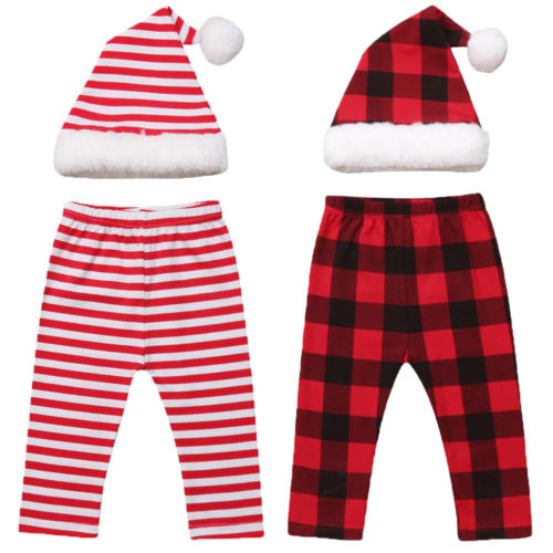 Costume Pants Newborn Baby-Girls-Boys Plaid XMAS Outfits-Set Photo-Props Santa-Hat Striped