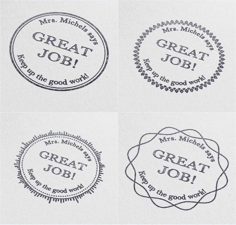40mm Circle Great Job Teacher Stamp Personalized Custom Name