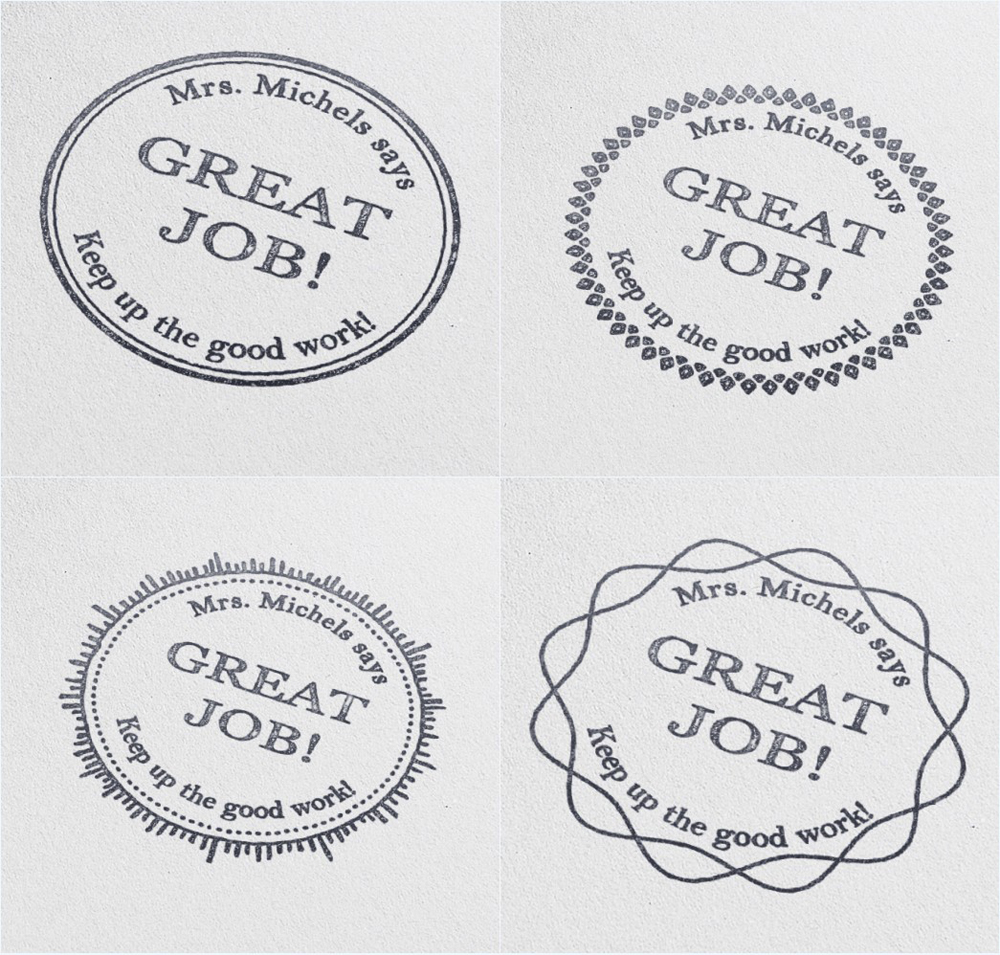 40mm Circle Great Job Teacher Stamp personalized custom name stamp self inking  for gift school assessment-Keep up the good work circle
