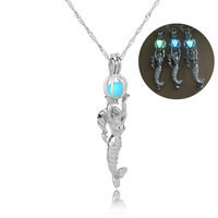 Second Explosion Fashion Multicolor Noctilucent Hollow Out Mermaid Necklace Clavicle Pendant Chain Goods In Stock SHL035 shoul