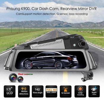 Phisung K900 Car DVR Camera 9.35 Inch IPS Car Dash Camera 1080p+720p Dual Lens Rearview Mirror Night Vision Video Recorder image