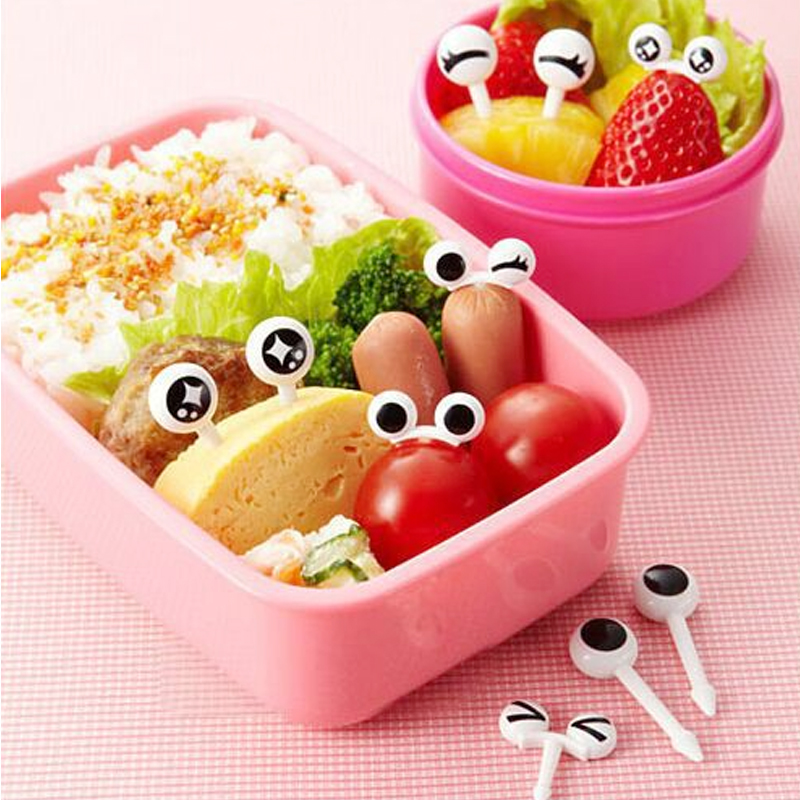 Fork Decorative Bento-Accessories Toothpicks Lunch-Box Eye-Fruit Food-Grade Plastic Mini