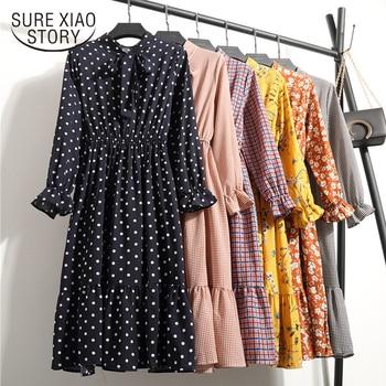 c1da1a7eb Moda Mujer Vestidos 2019 primavera floral estampado gasa Vestido de manga  larga mujeres vestido elegante vintage vestidos largos mujeres 1945 50