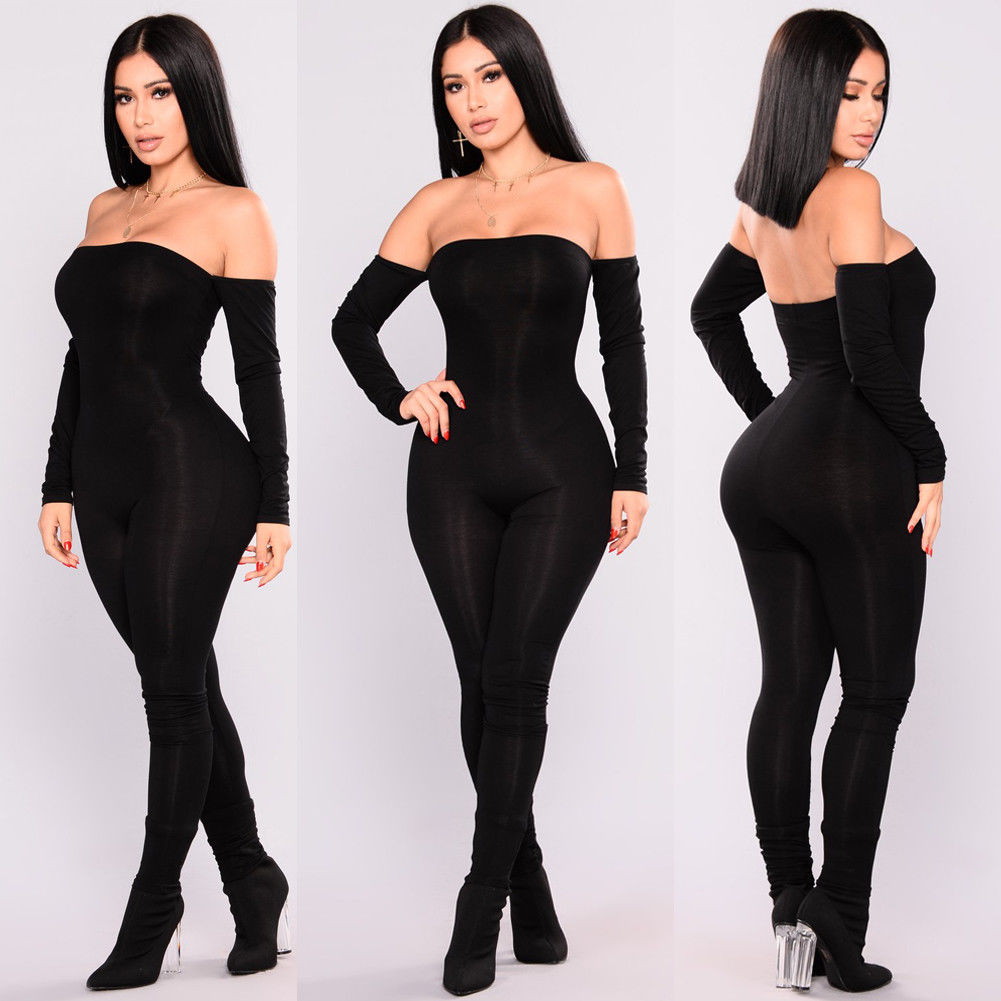 Thefound Autumn Women Off Shoulder Clubwear   Jumpsuit   Bodycon Romper Skinny Sexy Black Club Party Long Sleeve   Jumpsuits   For Girls