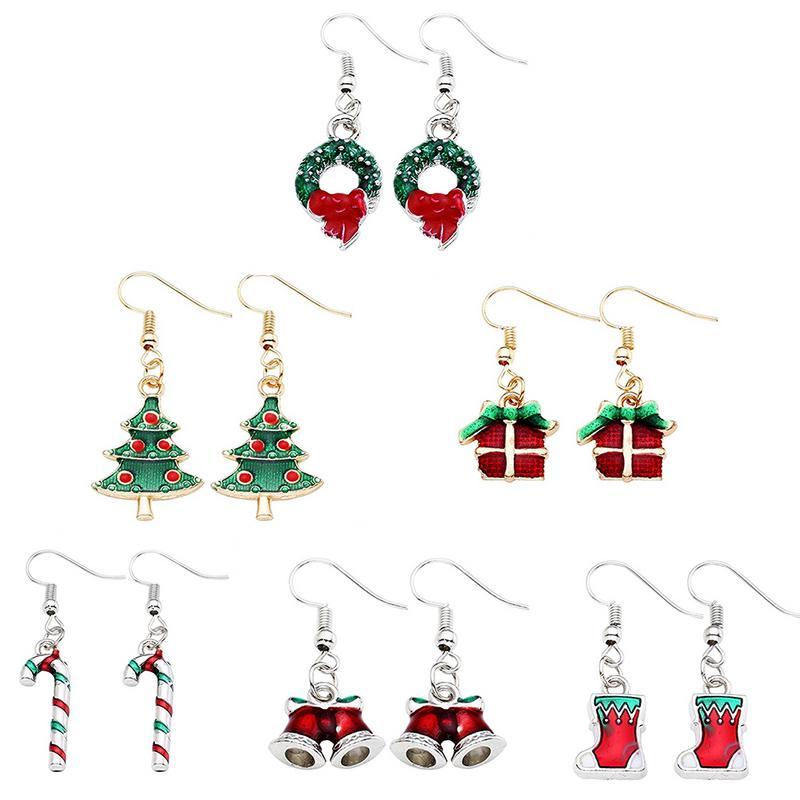 Christmas Dangle Earring Retro Fashionable Colorful Earring For Thanksgiving Merry Christmas Santa Claus Snowman Cartoon Earring