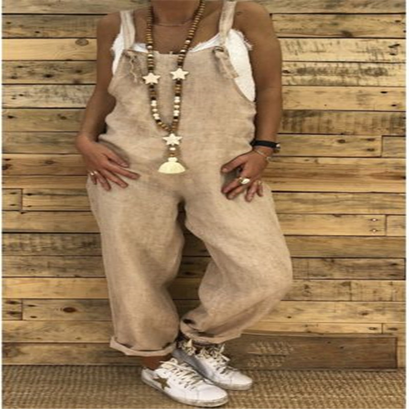 AU NEW Women/'s Jumpsuit Romper Dungarees Sleeveless Overall Loose Trousers Pants