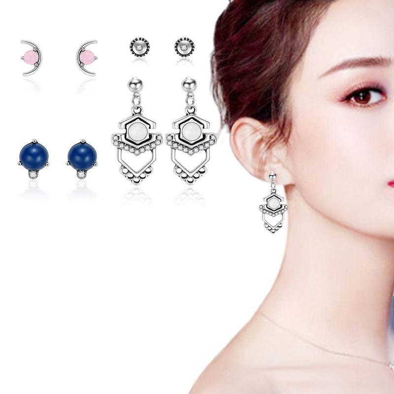 The Version Is Fresh And Simple Versatile And Sweet A Set Of 4 Pairs Of Set Earrings Fashion