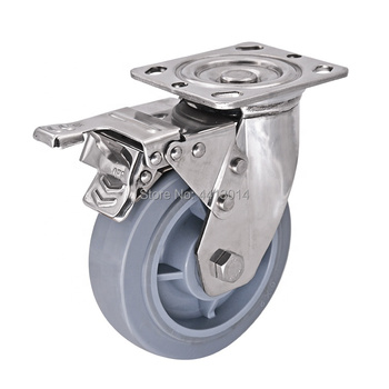 304 Stainless Steel Swivel TPR Heavy Duty 5 inch TPR Swivel Plate Caster for Industrial Equipment and Hotel Luggage Cart