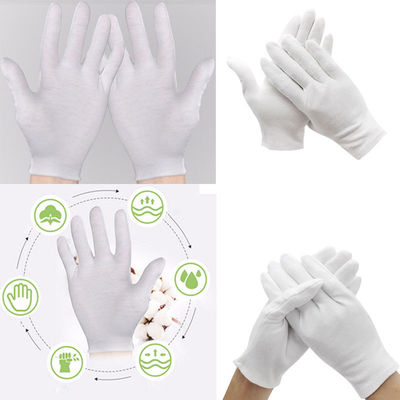Aggressive 6 Pairs/lot White Inspection Cotton Work Gloves Jewelry Lightweight Hight Quality High Elastic Gloves Mittens Men's Gloves
