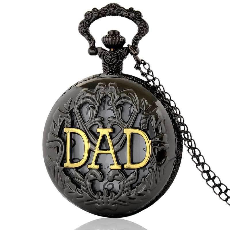 Full Hunter Quartz Engraved Fob Retro Pendant Pocket Watch Chain Gift Pocket Watch For DAD