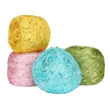 100g/ball Colorful Crochet Thin Thread Shiny Sequin Yarn for Hand Knitting Sweater Shawl Hook QW074