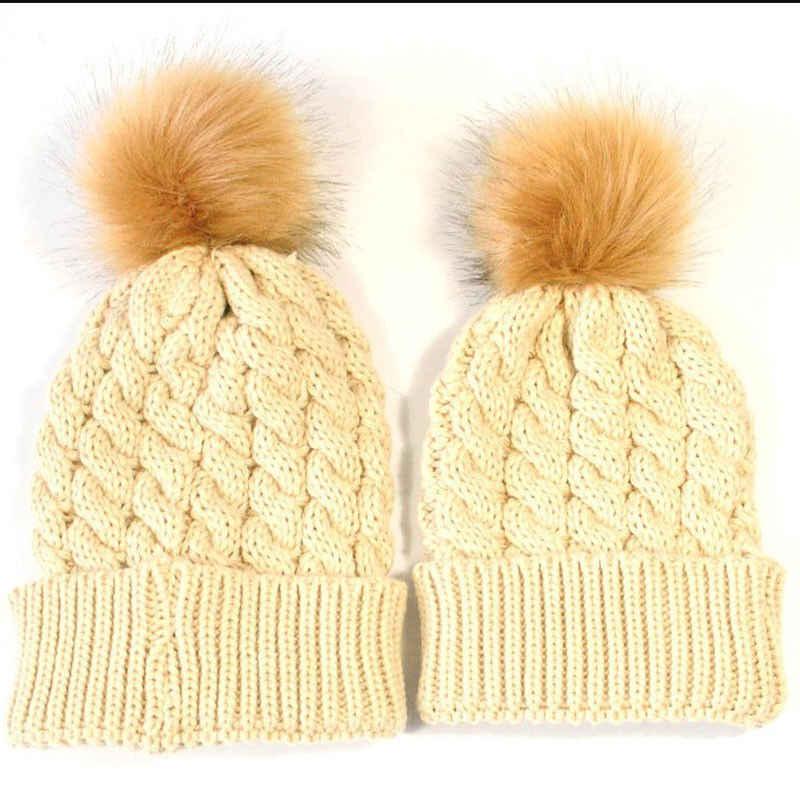 Подходящая Шляпа для всей семьи; Осенняя теплая зимняя шапка для маленьких мальчиков и девочек; Gorros Para Bebe помпон с искуственным мехом; Детская Вязаная Шапка-бини