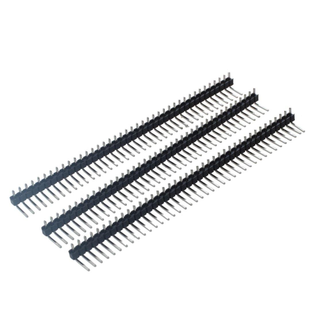 3 Pcs 40 Pins 2 54mm Pitch Single Row Right Angle Pcb