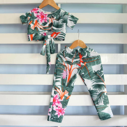 2pcs Kids Baby Girls Boho Flowers Crop Top T Shirt Pants Outfits Clothes Summer Baby Clothes Kids Clothing