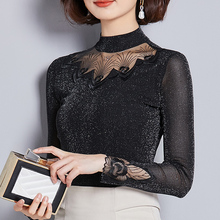 Women Blouse Shirts New Sexy Fashion Hollow Out Lace Long Sleeve Turtleneck Blouses Female Spring Blusas Tops Plus Size 4XL