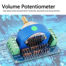 1 pcs 12 Amplifier Volume Pot dual Step Stepping Stereo Volume Potentiometer Dual 50K channel Stepping Volume Rotary Switch New amplifier volume potentiometer b50kx4 quadruple motor potentiometer handle length 25mm
