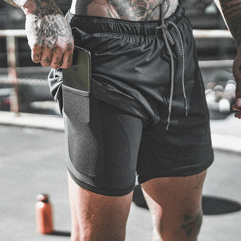 Men's 2 In 1 Compression Shorts Men Shorts Quick Dry Training Exercise Joggers Gym Shorts With Built-in Pocket Liner