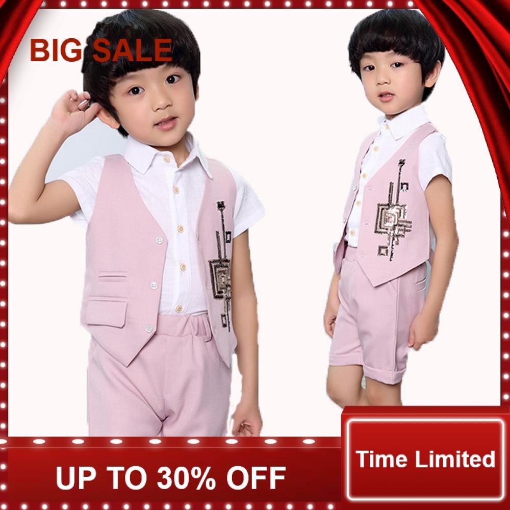 Bebê curto Prom ternos Vest + Shorts 2 pcs Conjuntos de Partido Dos Miúdos Do Verão Conjunto de Roupas Crianças Listrado Meninos definir
