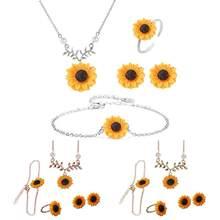54e356619a9d 4 unids set encantador conjuntos de joyas finas hojas de girasol colgante  collar pendientes anillos pulsera de la aleación de la.