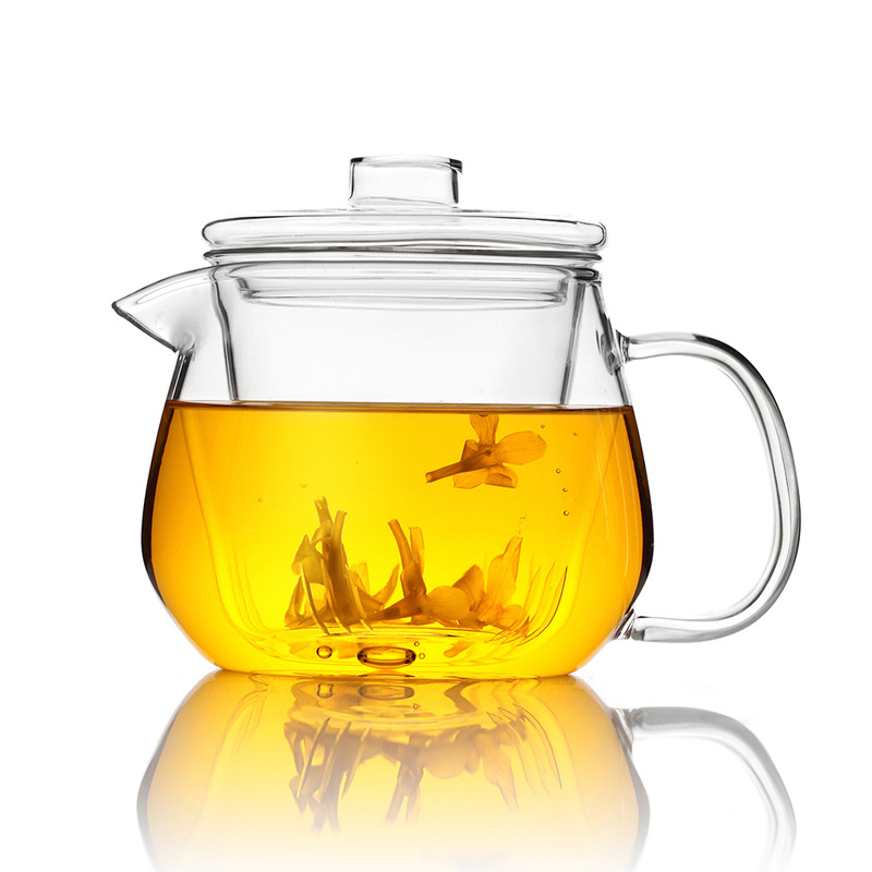 500ml Filter Flower Teapot Thick Heat Resistant Glass