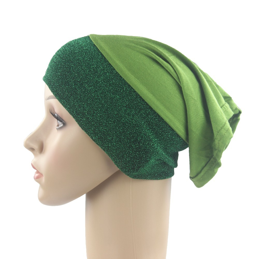 Muslim Women Underscarf Cap Inner Hijab Hats Islamic Hejab Headwrap Cotton Stitching Shimmer Material Soft And Stretch