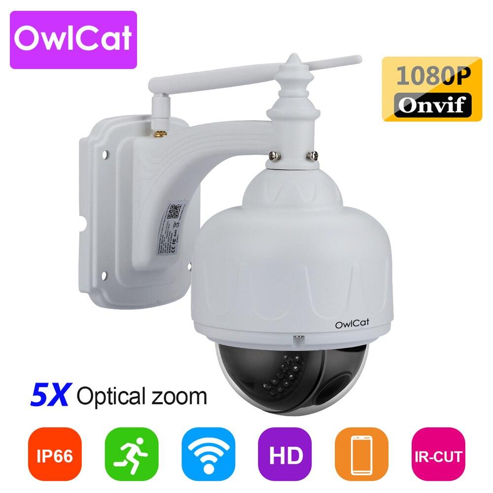 OwlCat SONY CMOS Wifi Câmera Dome IP x5 Zoom Óptico IR PTZ CCTV Ao Ar Livre À Prova D' Água Sem Fio HD 2MP 5MP Microfone slot de memória