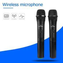 2 sztuk 268.85 Mhz/262.85 Mhz inteligentna bezprzewodowa mikrofony czarny do nagrywania studyjnego Karaoke Handheld Karaoke Mic z odbiornikiem USB