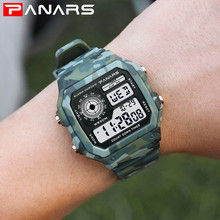 PANARS Camouflage Military Sports Watches For Running LED Digital Watch Men Clock Electronic Wrist Watches Outdoor Square Watch
