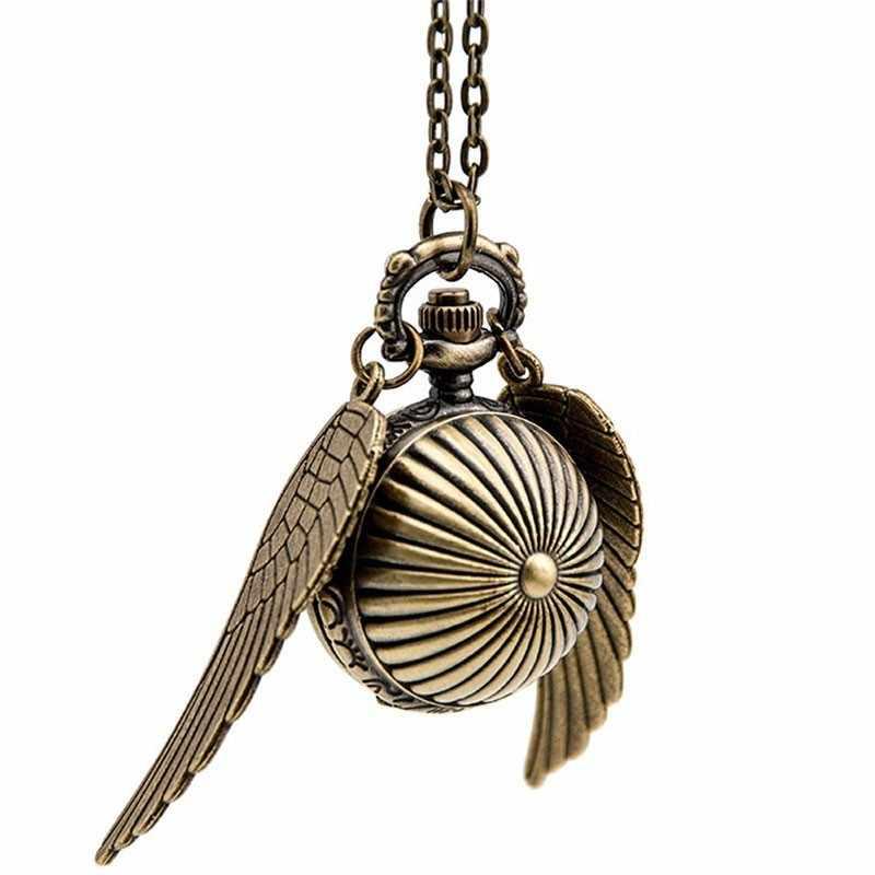 Гарри Поттер косплэй золотые крылья снитч Ретро часы кварцевые карманные часы цепочки и ожерелья Quidditch шары снитч ожерелье игрушки Fly вор