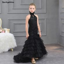 Black Flower Girl Dresse for Weddings First Communion Dresses for Girls  Kids Mermaid Evening Gowns Children Prom Dresses 2019 dbf5bdee7952